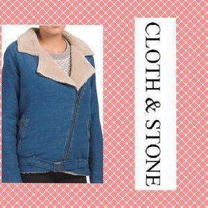 NEW Anthro Cloth & Stone Shearling Moto Jacket S